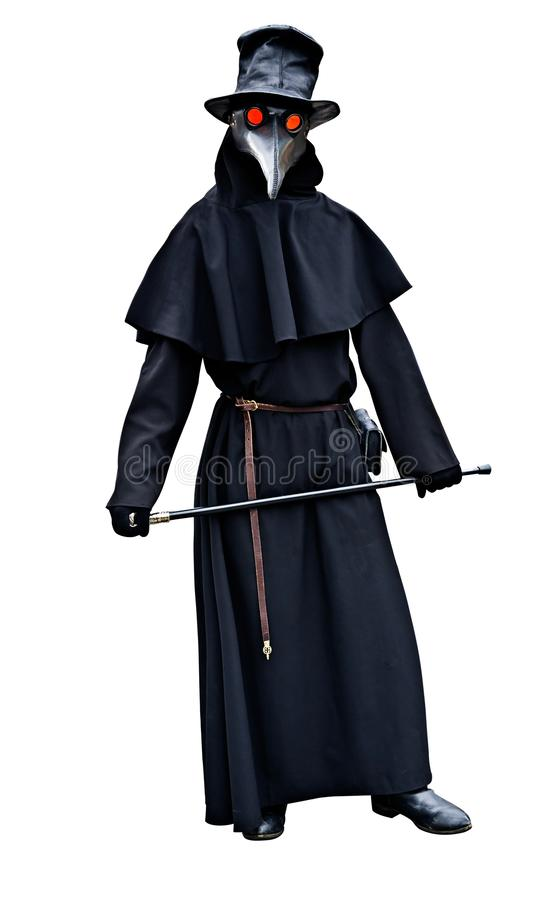 Plague doctor costume isolated stock image