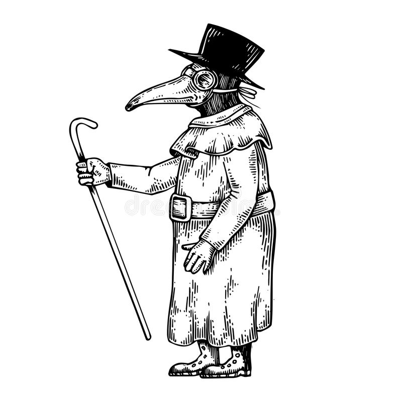 Plague doctor engraving vector illustration. Scratch board style imitation. Black and white hand drawn image stock illustration