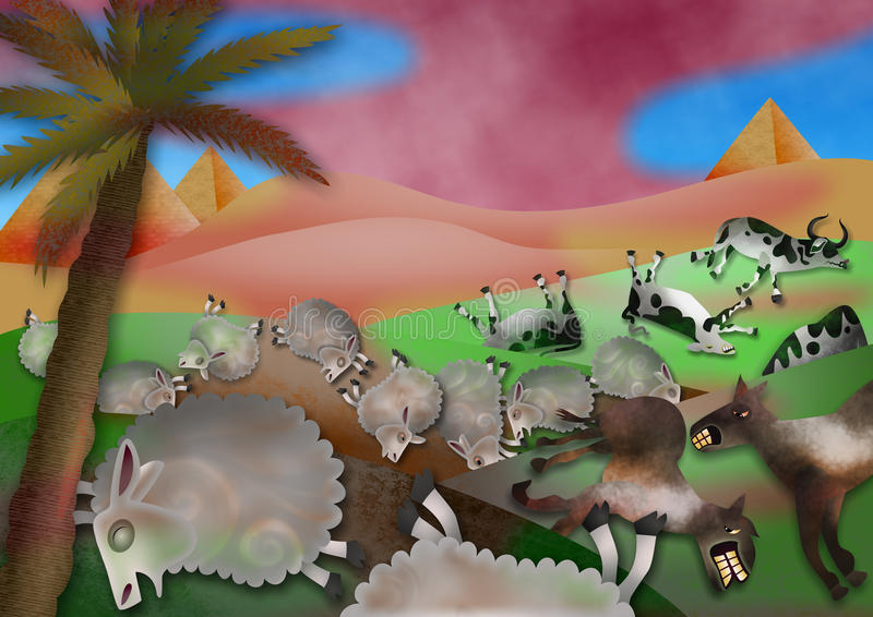The Plague of Livestock. A cartoon biblical illustration based on the fifth plague in the book of Exodus where the Egyptian animals die of the grievous murrain vector illustration