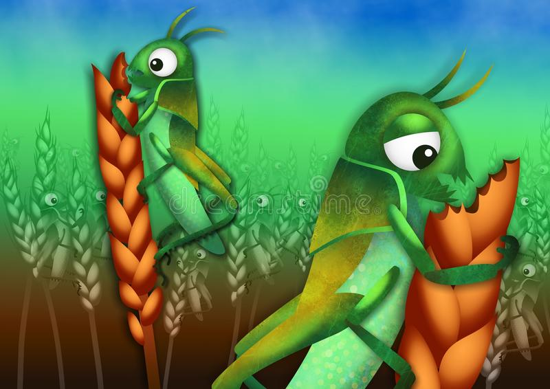 The Plague of Locusts. A cartoon illustration of the plague of locusts from the book of Exodus with locust insects ravaging a field of wheat crops stock illustration