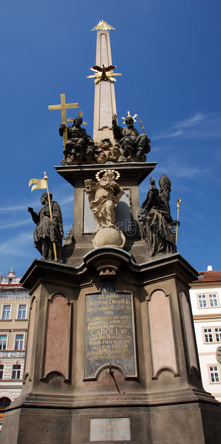 Plague pillar. Statue on the Malostranske square in Prague stock photos