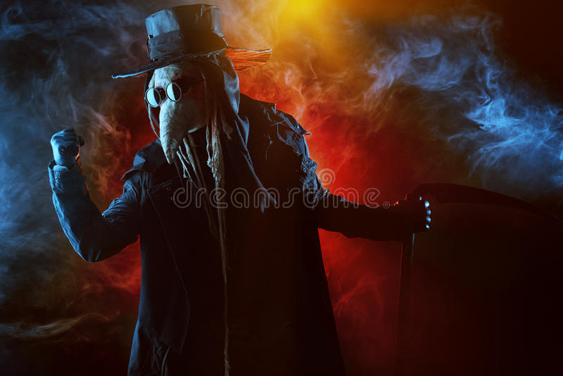 Plague. Terrible plague doctor. Medieval Europe. Halloween stock photo