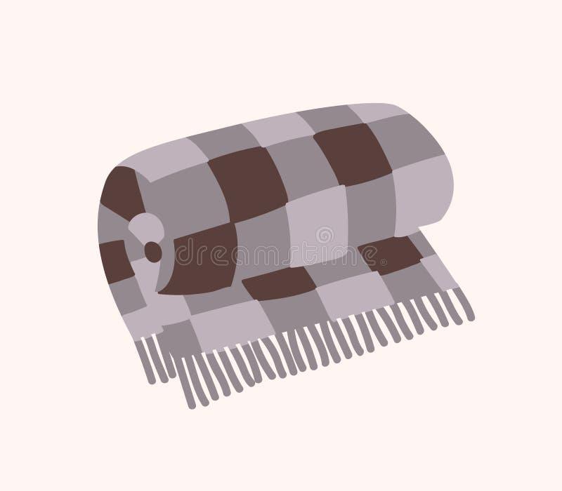 Plaid à carreaux de laine avec la frange ou la couverture roulée chaude de tartan d'isolement sur le fond blanc Décoration à la m illustration de vecteur