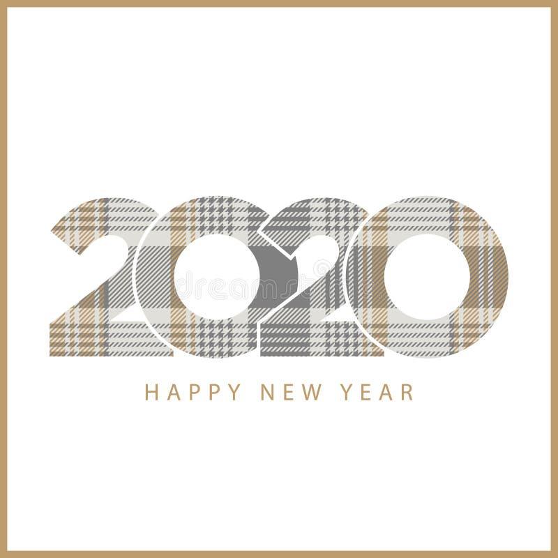 Plaid à carreaux de platine d'or 2020 bonnes années illustration stock