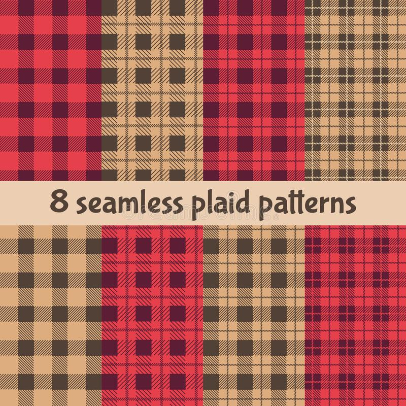 Plaid and Buffalo Check Patterns. Red, Black, Beige Plaid, Tartan and Gingham Patterns stock illustration