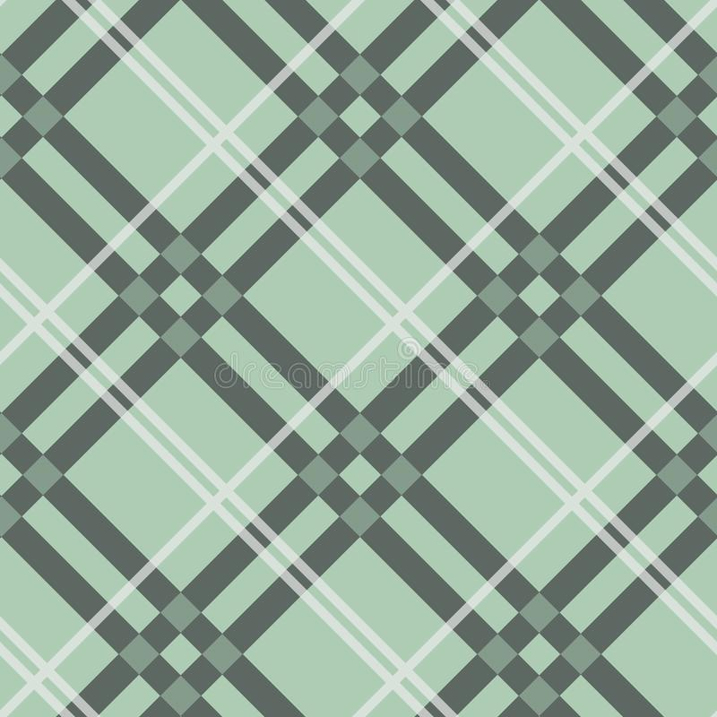 Plaid check pattern in beige, white, dusty teal green and grayish blue. Seamless fabric texture print. Eps 10 vector illustration