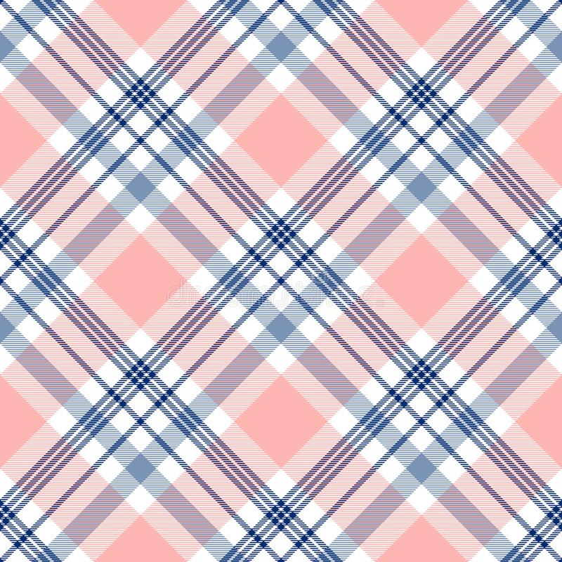 Plaid check pattern in navy blue, pink and white. Seamless fabric texture. stock images