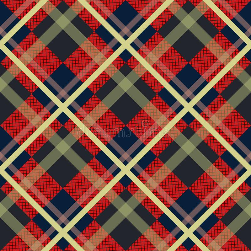 Plaid check pattern in red, black and white. Seamless fabric texture. vector illustration