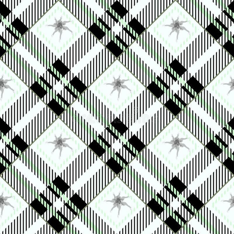 Plaid checkered tartan seamless pattern in green, black and white colors. Vector eps10 royalty free illustration
