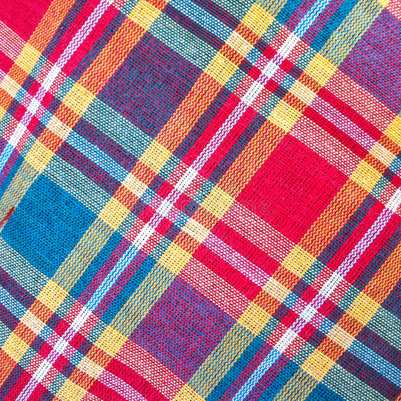 Plaid Cotton fabric of colorful background and abstract texture royalty free stock photos