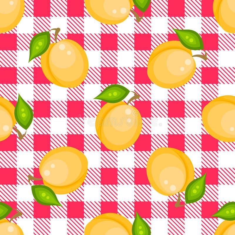 Plaid de tartan avec le modèle sans couture d'abricots illustration de vecteur
