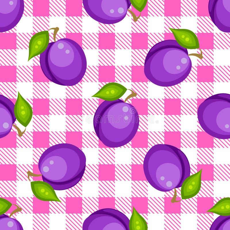 Plaid de tartan avec le modèle sans couture de prunes illustration stock