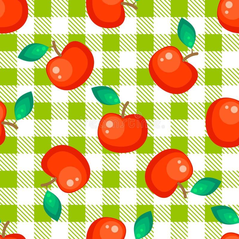 Plaid de tartan et modèle sans couture de pomme rouge illustration stock