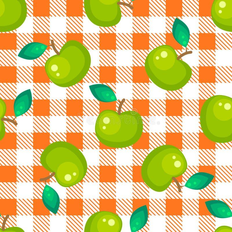 Plaid de tartan et modèle sans couture de pomme verte illustration stock