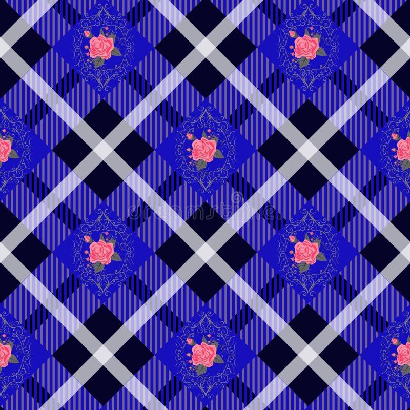 Plaid de tartan de Gyan et modèle de fleurs sur le fond à carreaux pour le textile illustration de vecteur