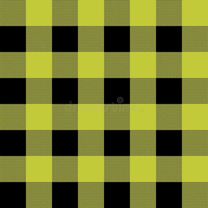 Plaid di tartan Modello scozzese in gabbia nera e gialla Gabbia scozzese Fondo a quadretti scozzese tradizionale illustrazione vettoriale
