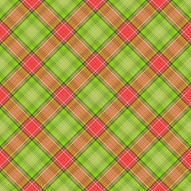 Plaid diagonale rosso verde royalty illustrazione gratis