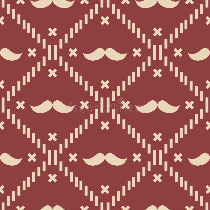 Plaid et Argyle Vector Patterns de tartan américains de moustache de hippie en rouge, blanc patriotique et bleu le 4ème juillet o illustration libre de droits