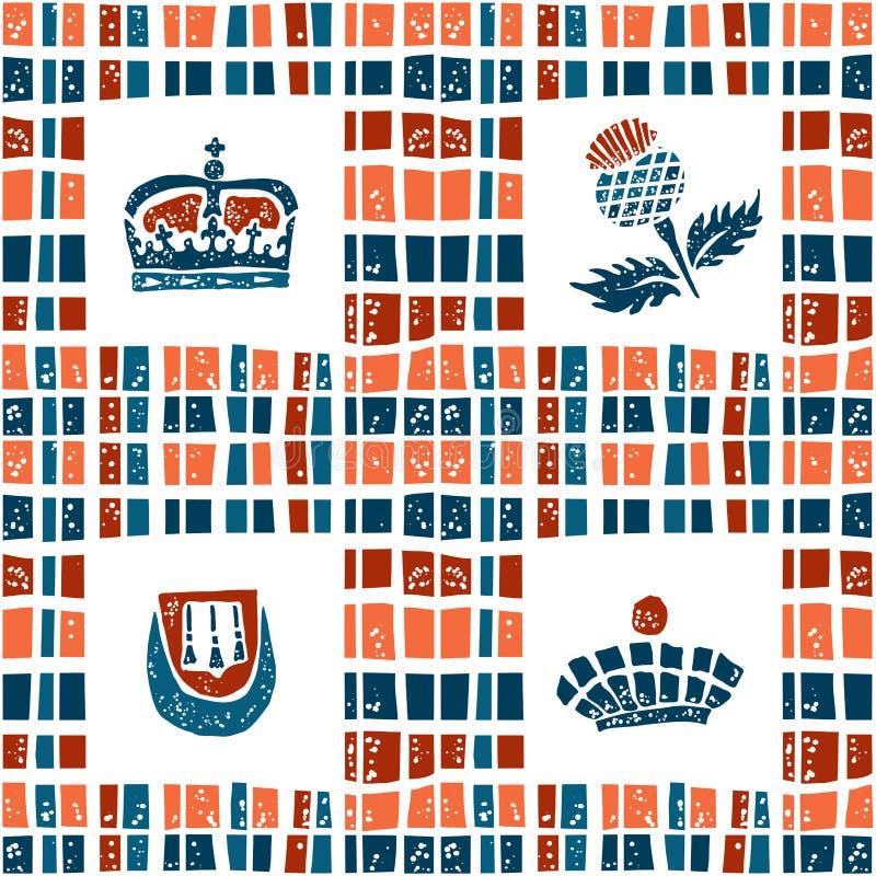 Plaid Fabric Seamless Pattern Scottish Set Stock Illustration