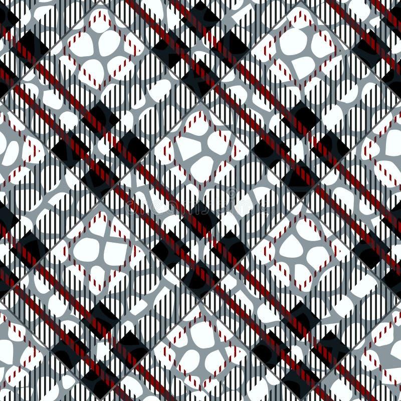 Plaid, geruit Schots wollen stof naadloos met het Patroonleer van de Krokodilhuid krokodil huid behang Achtergrond zwart-wit Docu stock illustratie