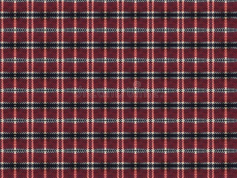 Plaid met rood en zwart-wit gebreid geruit patroon royalty-vrije illustratie