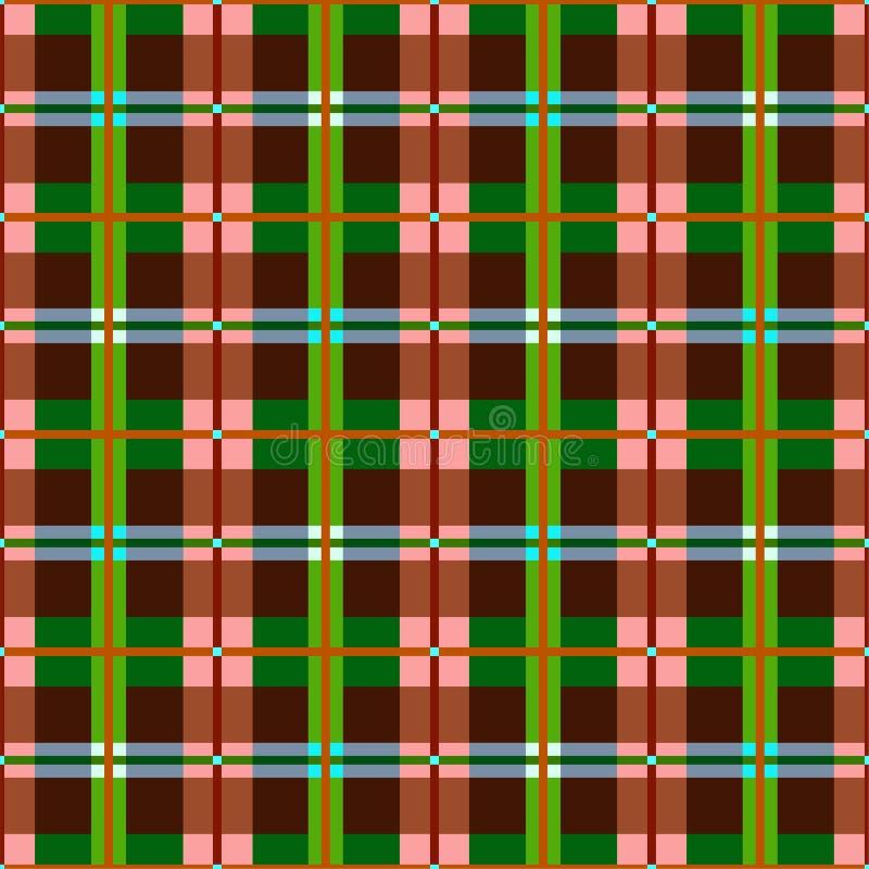 Plaid, naadloos patroon, bruine, groene, vectorachtergrond royalty-vrije illustratie