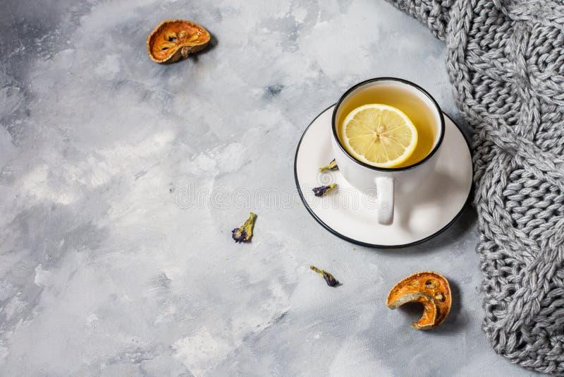 Plaid o coperta e tazza grigio di tè su fondo concreto fotografia stock libera da diritti