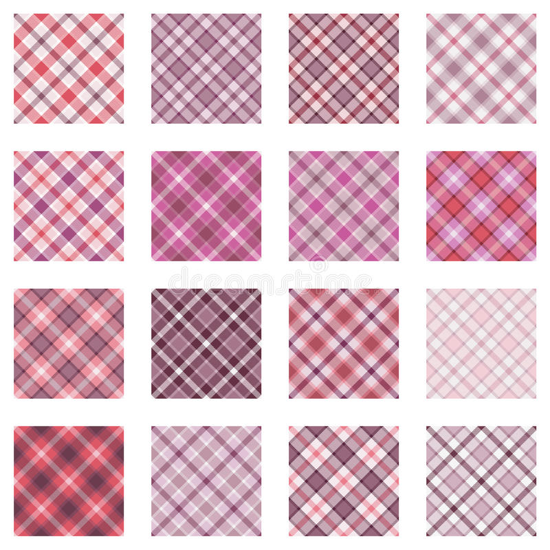Plaid patterns collection, pink shades stock illustration