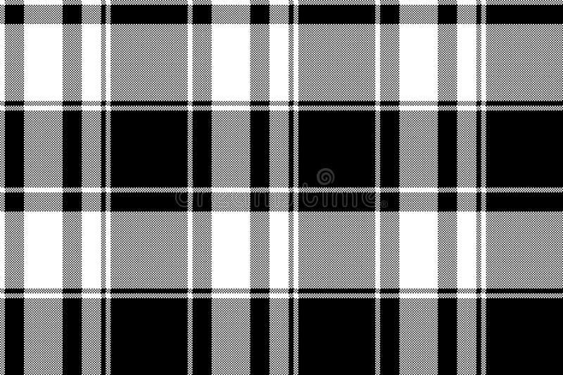 Plaid sans couture de contrôle de modèle blanc noir de pixel illustration libre de droits