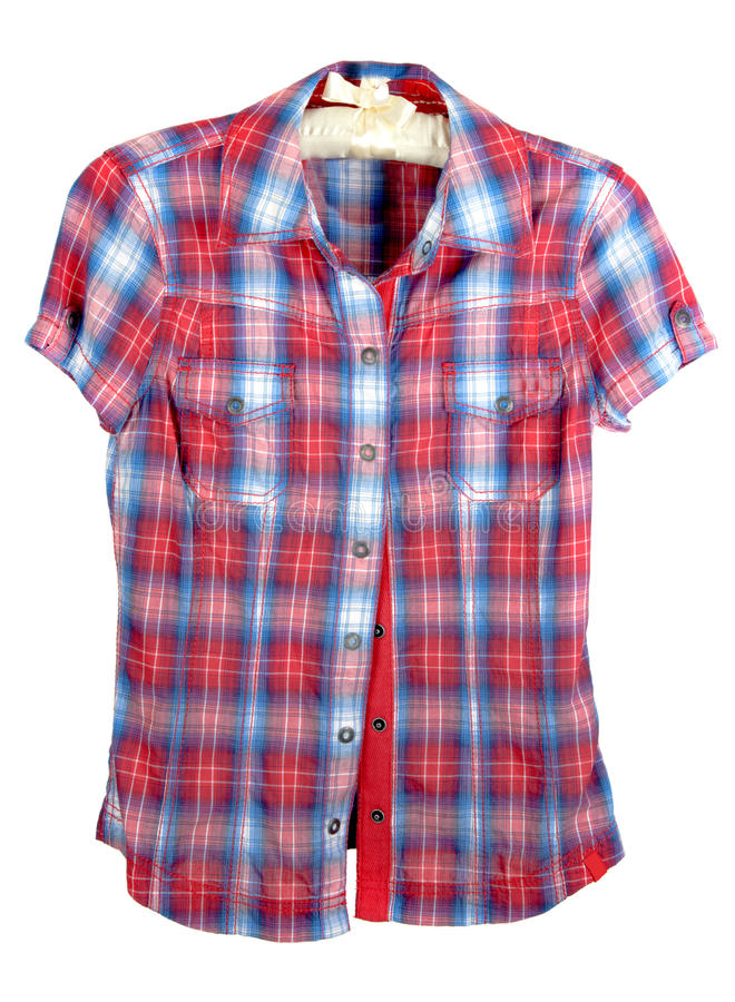 Plaid shirt with red and blue band stock photo image of for Red white and blue plaid shirt