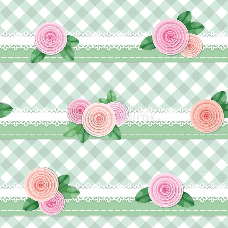 Plaid textile seamless pattern background, decorated with lace and roses. Girly. Vector vector illustration