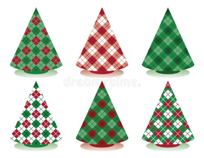 Plaid-Weihnachtsbäume Stockfotos