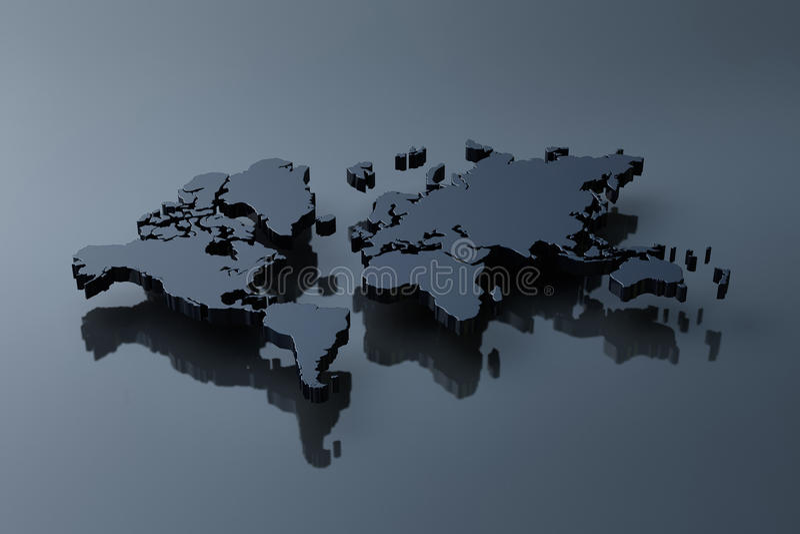 Download Plain Black Map Of The World Stock Illustration - Image: 15249630