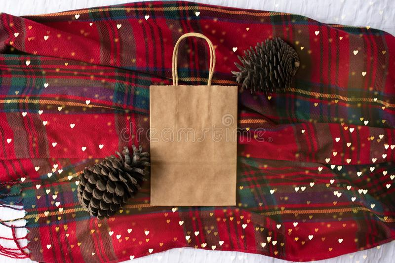 Plain blank brown paper bag front and back on tartan background with pine cones and twinkle lights, empty for own design. Winter Christmas bag mock up stock photos