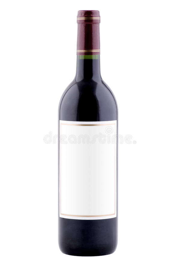 Plain Bottle of Wine. Isolated Bottle of Wine with Blank Label stock images