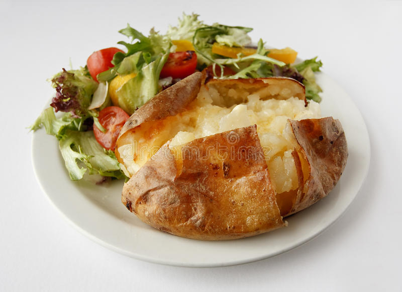 Download Plain Butter Jacket Potato With Side Salad Stock Image - Image: 23592359