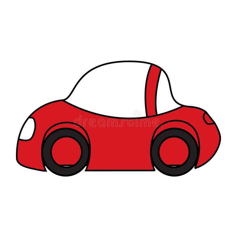Plain Car Icon. Hand Drawn Doodle Cartoon Red Little Car, Traffic Jam, Car Service Rent Concept stock illustration