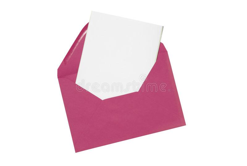 Plain card with envelope. A pink envelope with a plain card pulled out royalty free stock photography