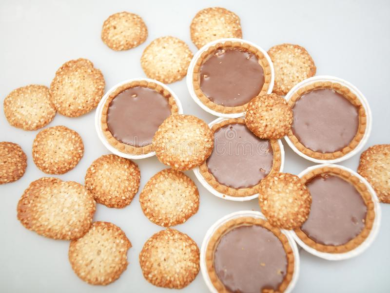 Bunch of round cookies stock photography