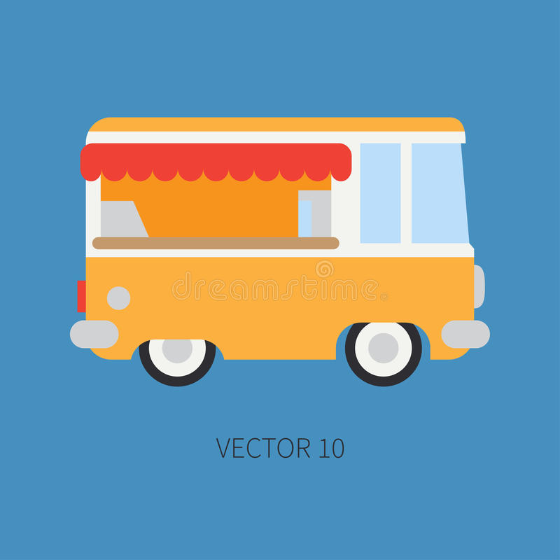Plain flat vector color icon mobile coffee shop car. Commercial vehicle. Cartoon vintage style. Van. Fast food cafe stock illustration