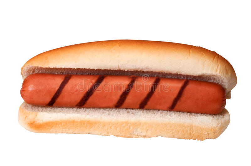 Plain Hot Dog with Grill Marks royalty free stock photo
