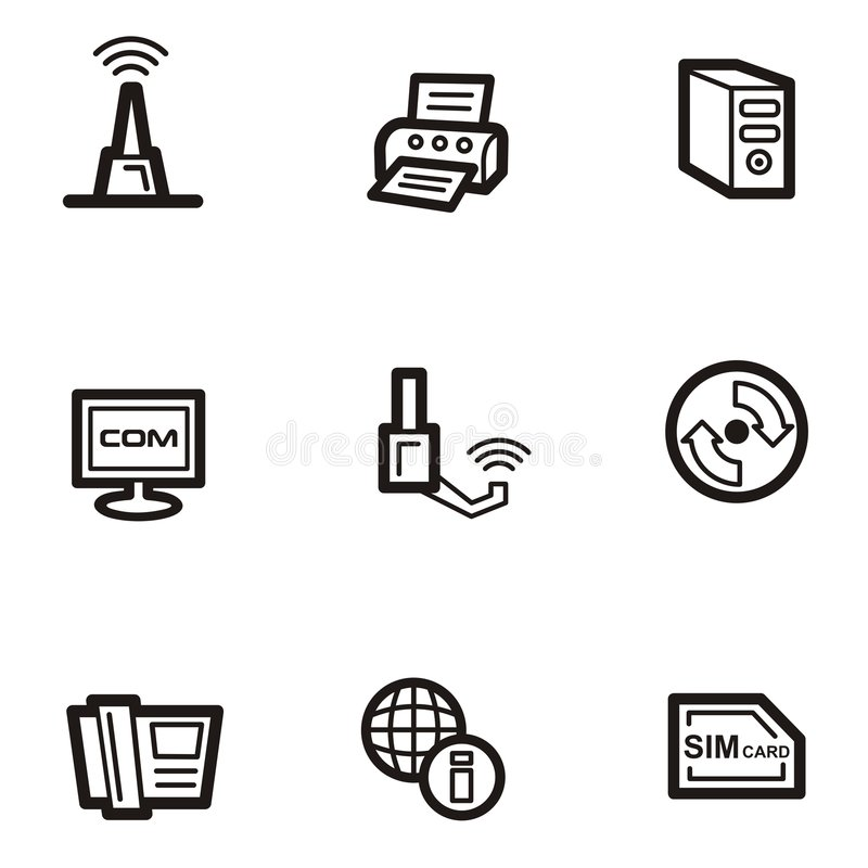 Download Plain Icons - Communications Stock Vector - Illustration: 1961059