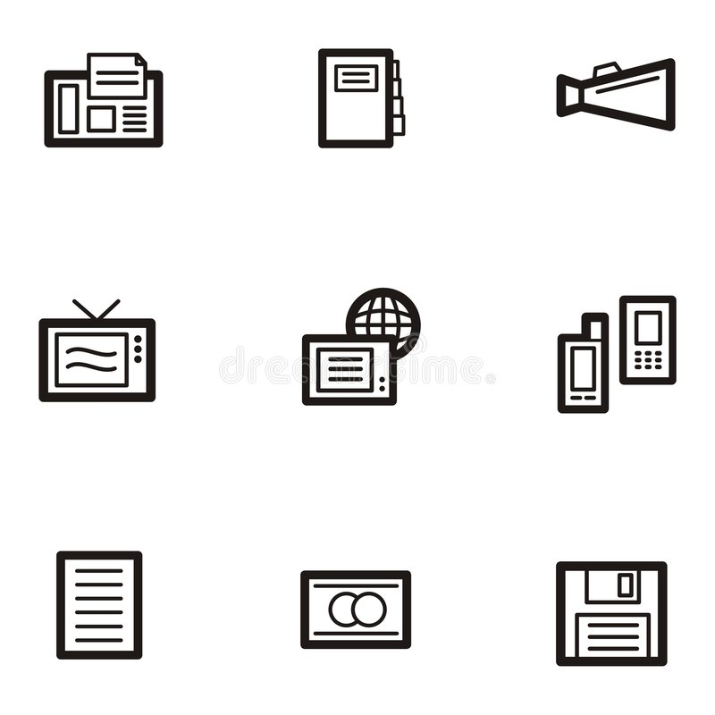 Download Plain Icons - Communications Stock Vector - Illustration: 1961112