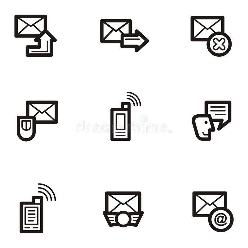 Download Plain Icons - Communications Stock Vector - Illustration: 1961132