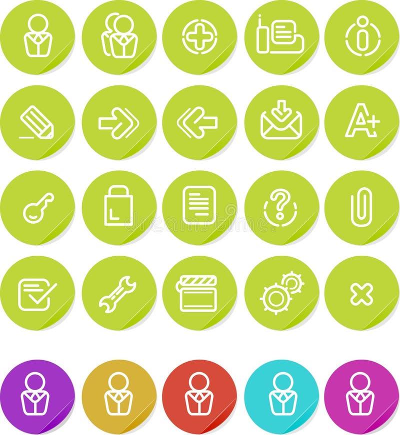 Plain o ícone das etiquetas ajustado: Web site e Internet ilustração do vetor