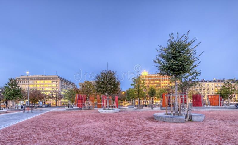 Plain of Plainpalais, Geneva, Switzerland, HDR stock photography