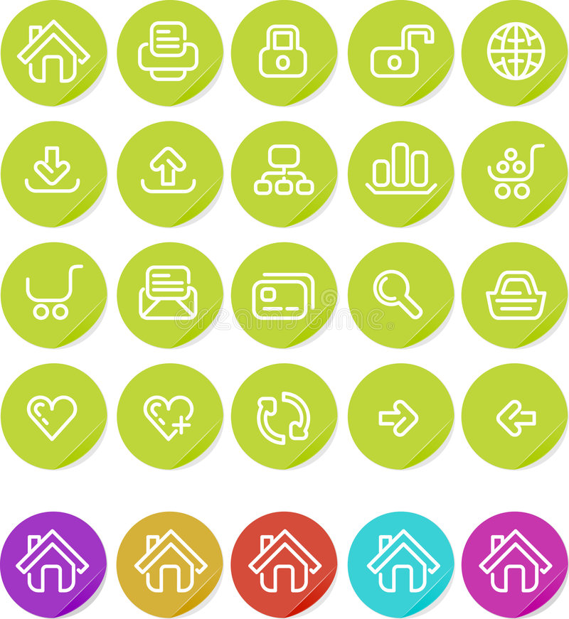 Plain stickers icon set: Website and Internet. Website and Internet icon set. Alternate colors included vector illustration