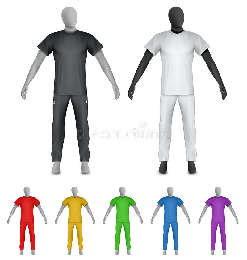 Plain t-shirt and sweatpants on mannequin template royalty free illustration