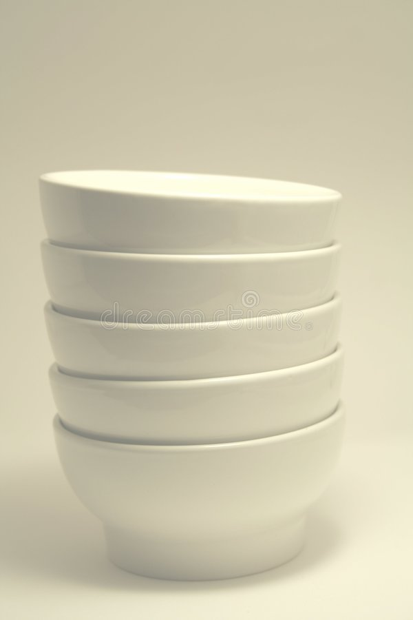 Download Plain white bowls stock image. Image of bowls, stack, stacked - 5464503