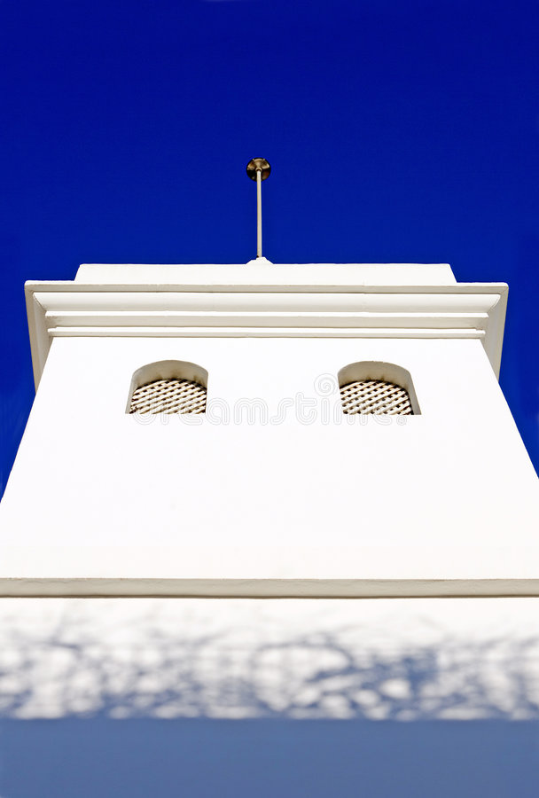 Download Plain White Building In Spanish Pueblo Stock Image - Image of steeple, evening: 672447